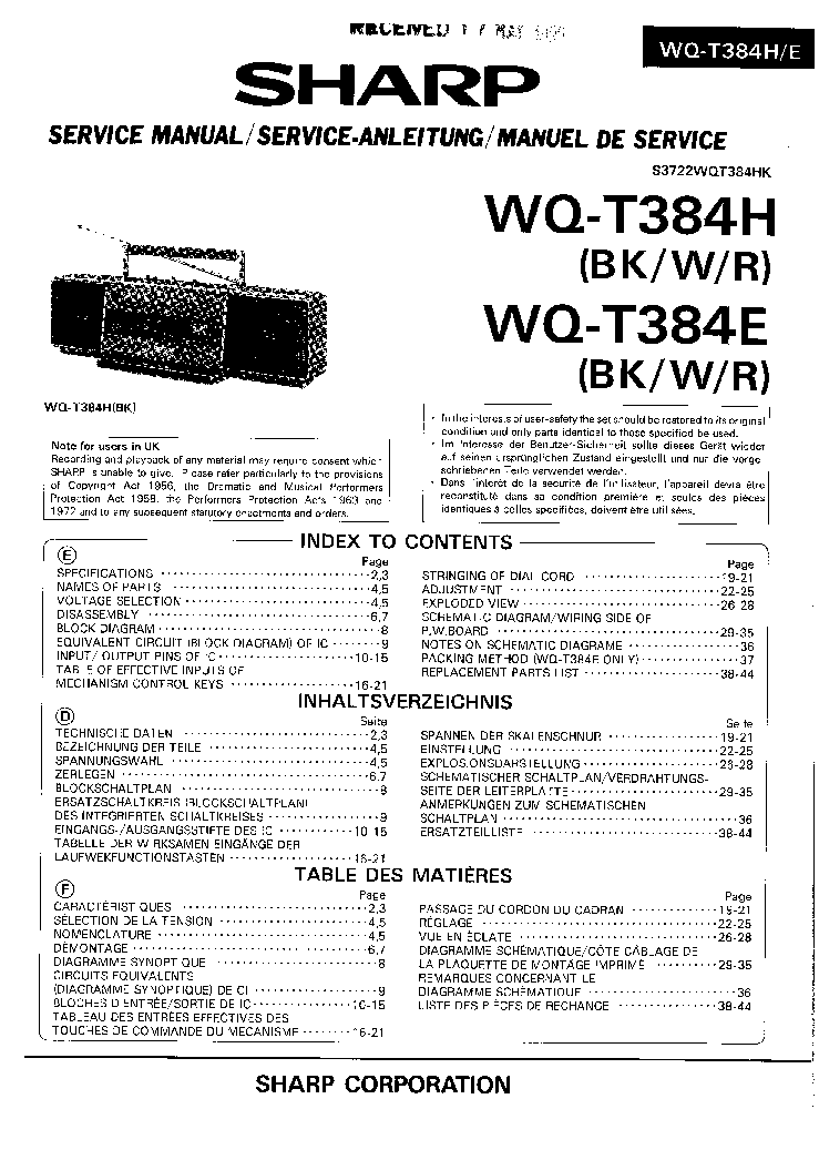 SHARP CD-DH950P Service Manual free download, schematics